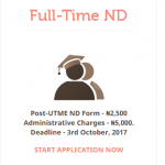 ND Full-Time Admission 2017/2018 Announced